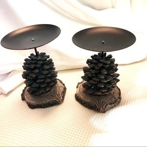 Pine cone candle holders rustic cabin Christmas